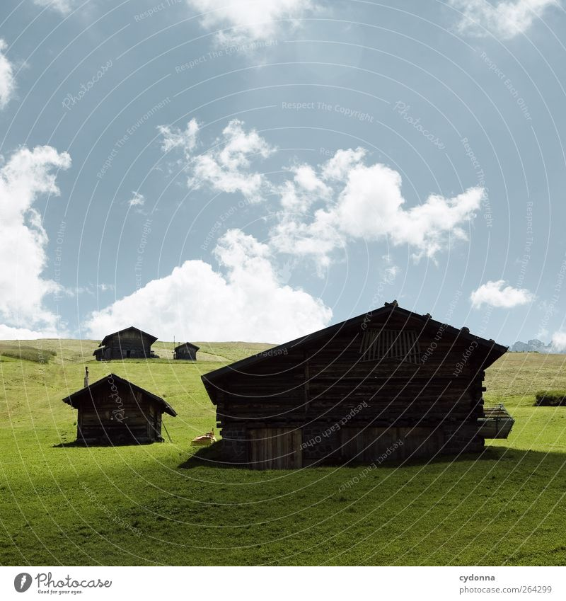 mountain huts Harmonious Well-being Relaxation Calm Vacation & Travel Tourism Trip Environment Nature Landscape Sky Summer Grass Meadow Hill Alps Mountain Hut
