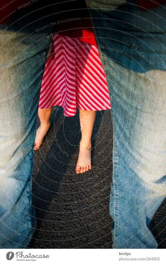 The barefoot season has begun Father Adults Infancy Legs Feet 2 Human being Dress Jeans Illuminate Stand Fresh Together Protection Considerate Shame Barefoot