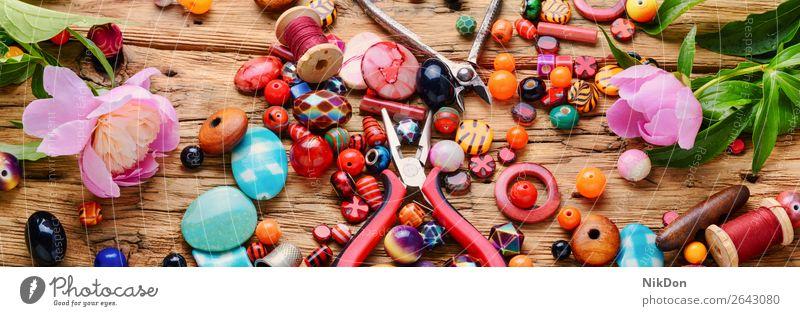 Beads and peony bead jewelry flower female decoration craft handmade accessory beading fashion colorful beads design macro stone hobby art style necklace
