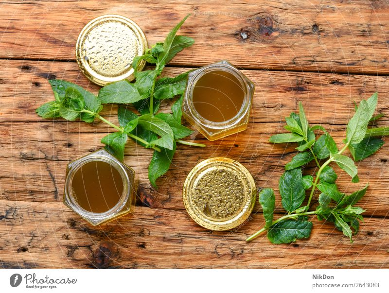 Jam from fresh mint spearmint jam sweet jar peppermint jelly glass homemade herbal grass leaf green tea ingredient foliage fragrant smell leaves healthy eating