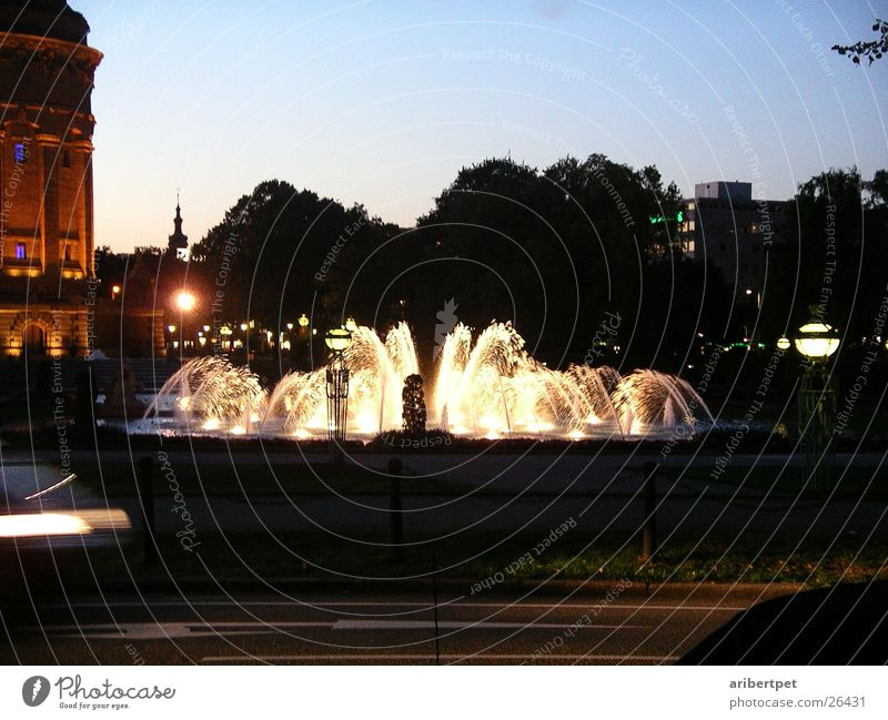 Fountain at night Well Night Mannheim Light Architecture water feature Evening