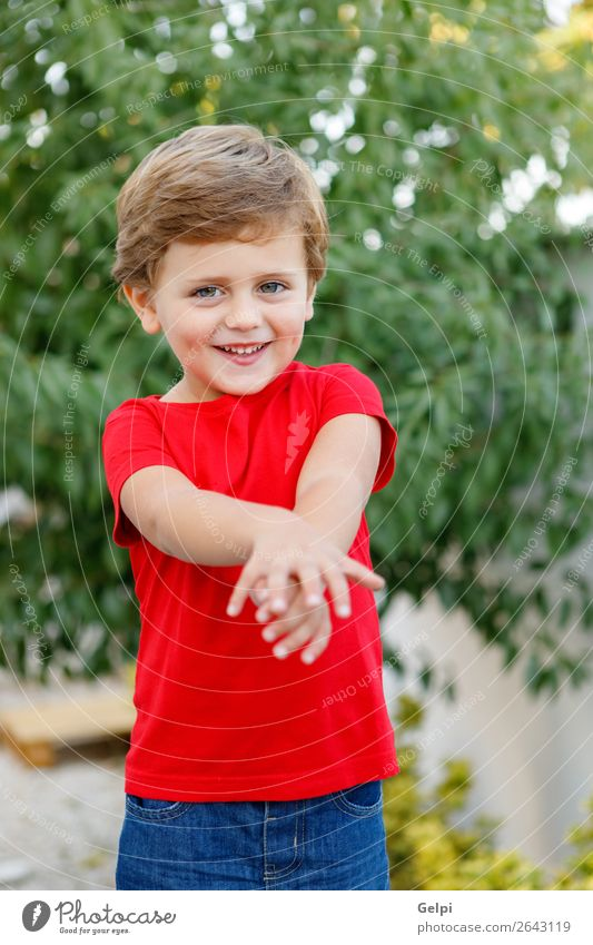 Happy child with red t-shirt in the garden Joy Beautiful Summer Sun Garden Child Human being Baby Toddler Boy (child) Family & Relations Infancy Nature Grass