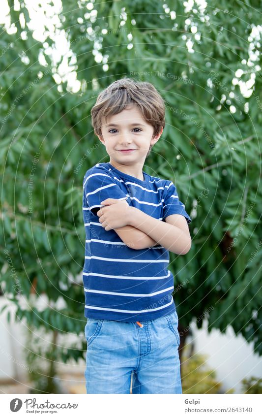 Portrait of a small child in the field Joy Happy Beautiful Face Playing Child Baby Boy (child) Infancy Nature Plant Tree Park Smiling Laughter Happiness Small