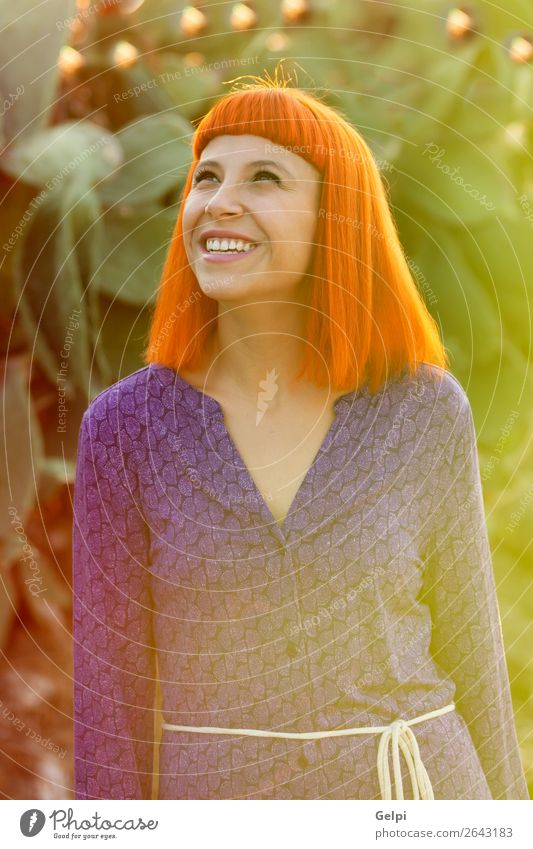 Red haired woman taking a walk Woman Human being Summer Colour Beautiful White Eroticism Calm Joy Face Lifestyle Adults Lanes & trails Happy Style