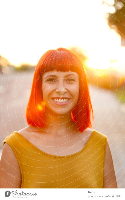 Red haired woman taking a walk during the sunset Woman Human being Summer Colour Beautiful White Eroticism Calm Joy Face Lifestyle Adults Yellow Lanes & trails