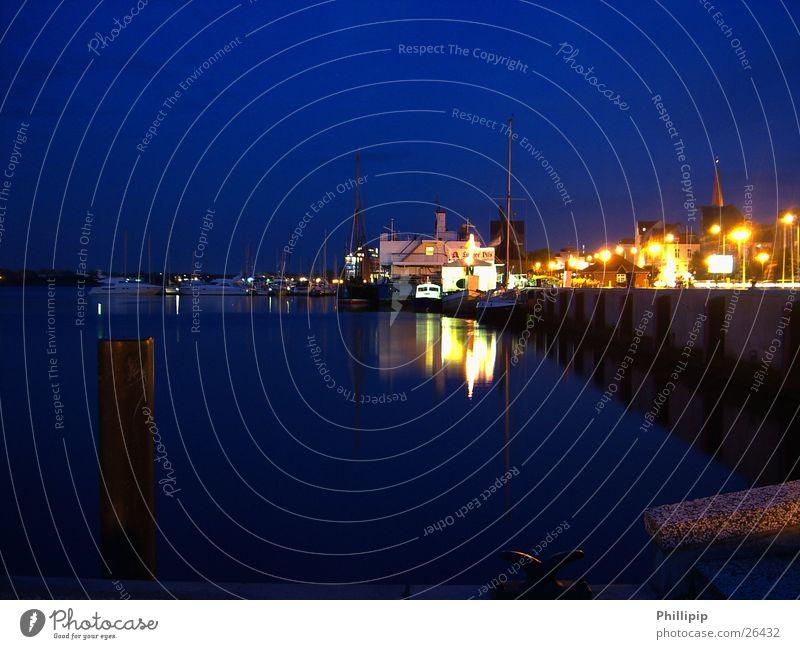 Port of Rostock Watercraft Light Night Long exposure Navigation Blue