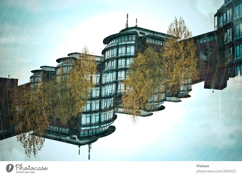 Can you feel it Manmade structures Building Architecture Modern Double exposure High-rise Diagonal Glazed facade Experimental Colour photo Exterior shot