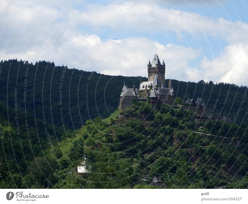 Cochem castle on mountain top Luxury Tourism Summer Landscape Hill Palace Tower Manmade structures Building Architecture Wall (barrier) Wall (building)