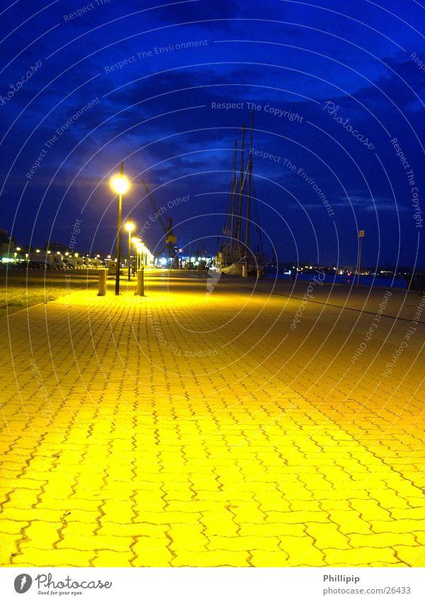 Rostock harbour Long exposure Street lighting Sidewalk Night Europe Blue Sky