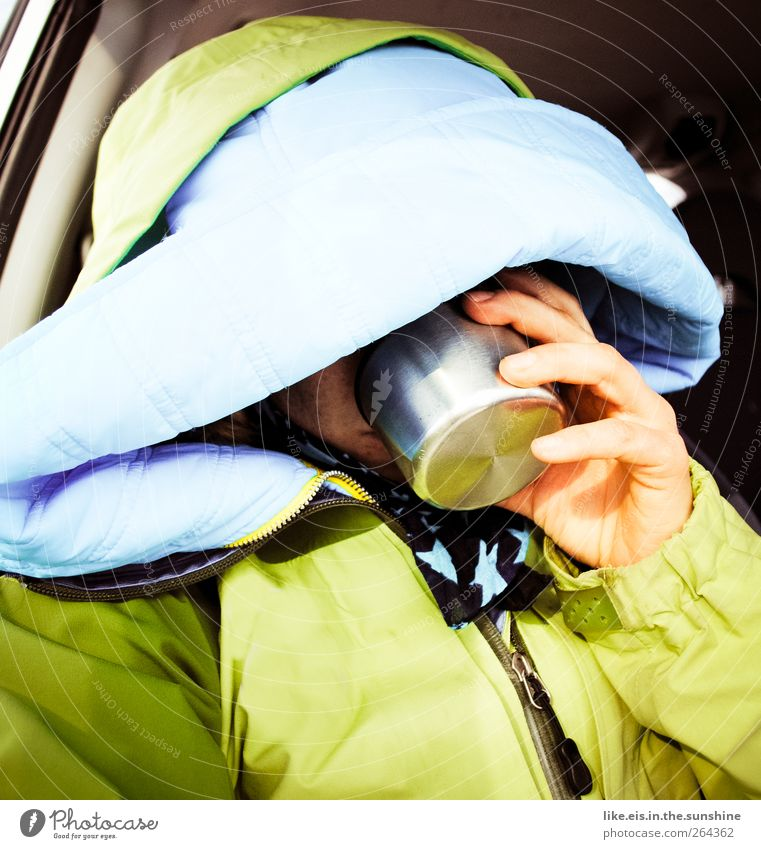 Human being Woman Adults Cold Warmth Fingers Break Drinking Tea Jacket Freeze Anonymous Thirst Hooded (clothing) Expedition Winter vacation