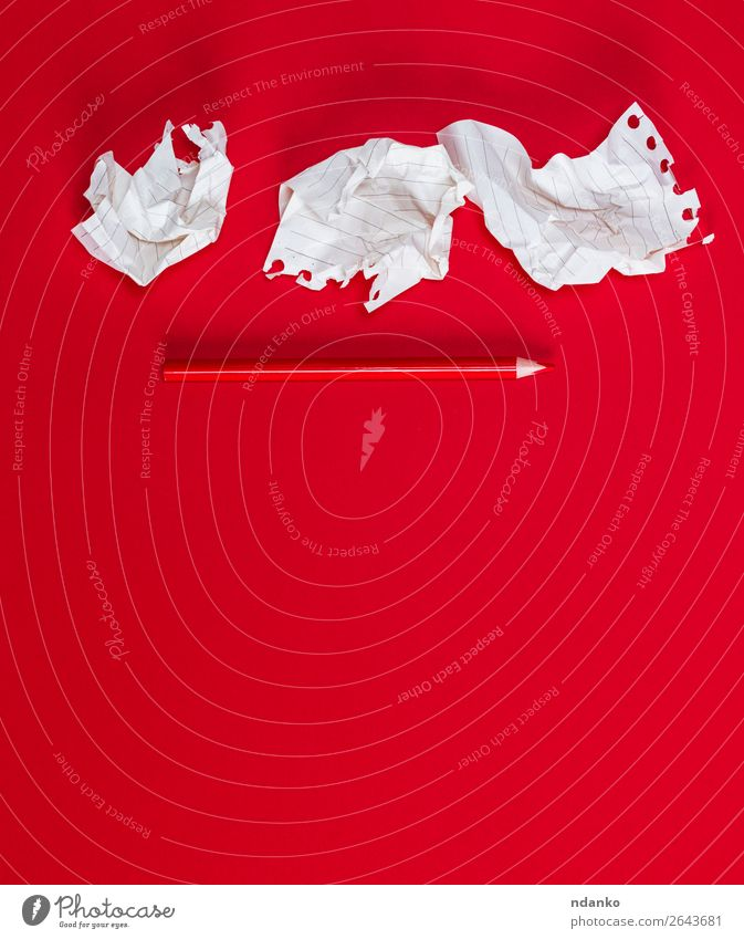 three crumpled white pieces of paper School Office Business Paper Piece of paper Pen Wood Write Red White background Blank Diary Document education empty memo