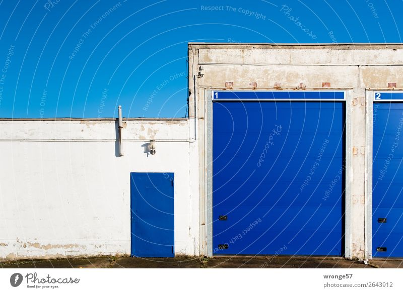 Junk Gate 1 Garage Wall (barrier) Wall (building) Facade Entrance Front door Main gate Blue White Garage door Blue sky Rolling door Landscape format