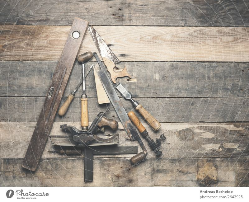 Vintage carpenter tools as a Christmas tree Christmas & Advent Adult Education Craft (trade) Construction site Hardware Tool Saw Retro Tradition