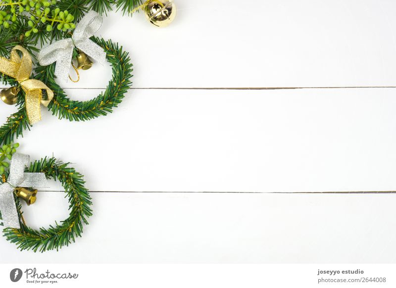 Fir twigs, Christmas wreaths and jingle bells. Christmas & Advent White Red Winter Snow Happy Feasts & Celebrations Design Decoration Gold Creativity String