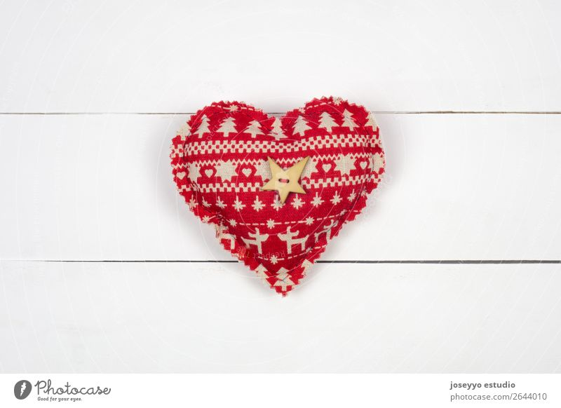 Red patchwork heart on white wood background. Christmas & Advent Colour White Winter Snow Happy Feasts & Celebrations Design Decoration Heart Creativity Gift