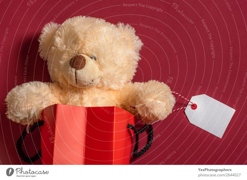 Stuffed teddy bear toy in a shopping bag with blank tag Shopping Feasts & Celebrations Christmas & Advent Birthday Teddy bear Package Happiness Red Surprise