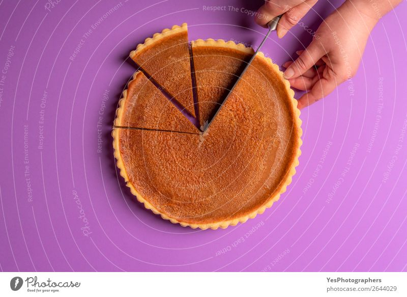 Woman hands cutting a pumpkin pie. Purple background. Feasts & Celebrations Copy Space Sweet Delicious Candy Baked goods Cake Violet Tradition Dessert
