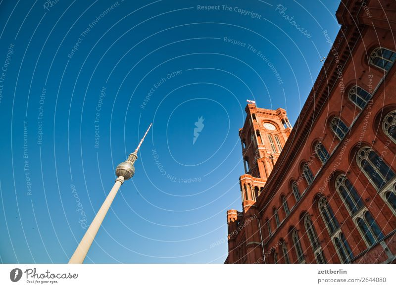 Television Tower and Red Town Hall Alexanderplatz Architecture Berlin City Germany Berlin TV Tower Worm's-eye view Capital city House (Residential Structure)