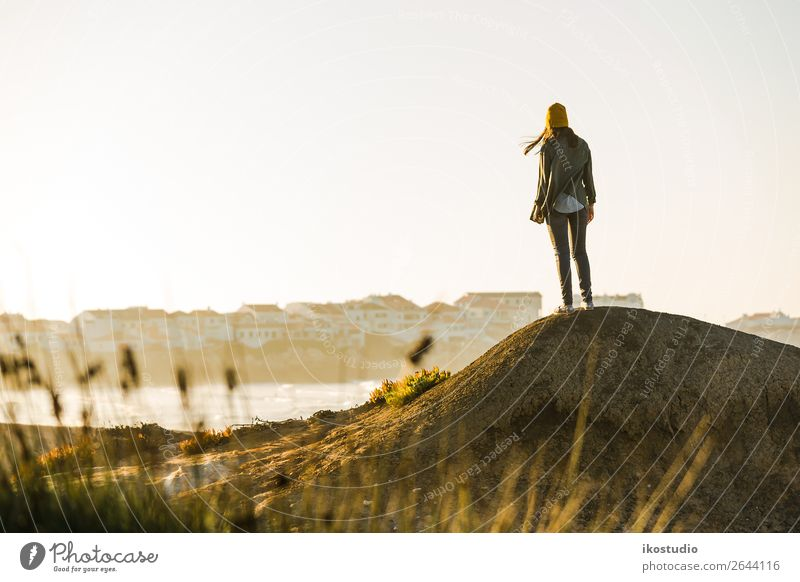 Woman over the cliff Human being Vacation & Travel Nature Blue Beautiful Landscape Ocean Beach Lifestyle Adults Autumn Coast Freedom Hiking Vantage point