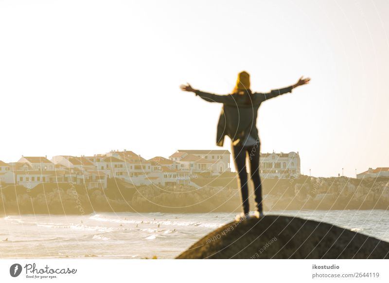 Woman over the cliff Human being Vacation & Travel Nature Blue Beautiful Landscape Ocean Beach Lifestyle Adults Autumn Coast Happy Freedom Hiking