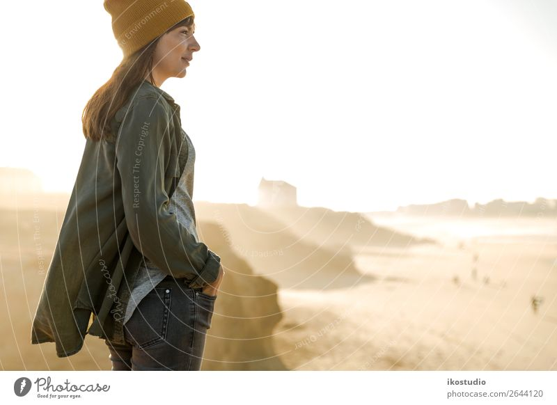 Yellow cap women Woman Human being Vacation & Travel Nature Blue Beautiful Landscape Ocean Beach Lifestyle Adults Autumn Coast Freedom Hiking Vantage point