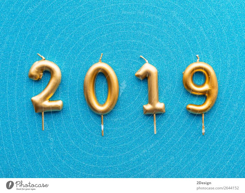 Happy new year 2019. Gold shiny number Design Winter Decoration Feasts & Celebrations Christmas & Advent Aircraft Candle Glittering Bright New Above Blue Black