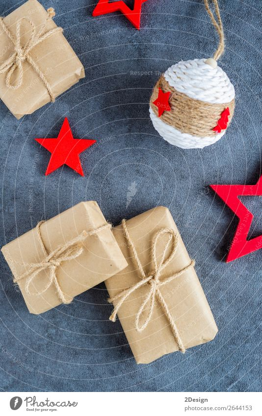 Some christmas presents in decorative boxes on a dark background Shopping Style Design Winter Decoration Feasts & Celebrations Christmas & Advent Craft (trade)