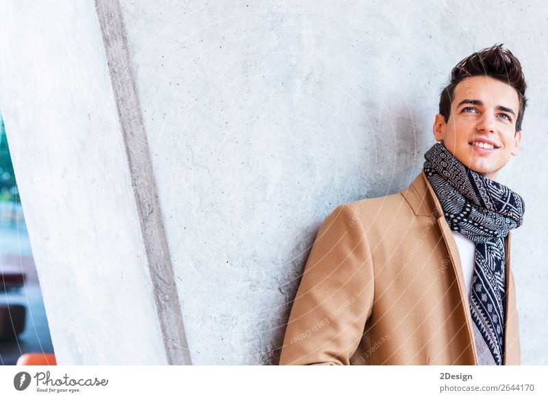Young guy with modern hairstyle standing looking away Lifestyle Elegant Style Beautiful Hair and hairstyles Winter Human being Man Adults Youth (Young adults)
