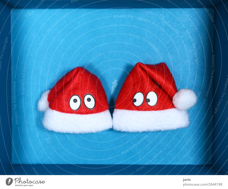 blue box III Christmas & Advent Box Together Funny Blue Red Looking Santa Claus hat Surprise eyes Christmas gift Colour photo Studio shot Close-up