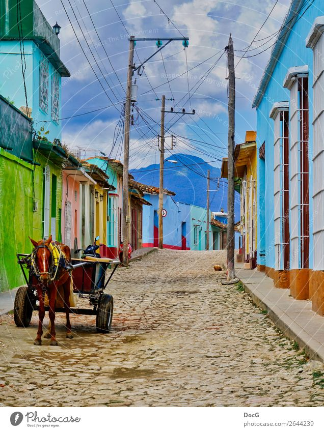 Cuba - Street View w Donkey Cart House (Residential Structure) Sky Storm Village Town Manmade structures Building Architecture Facade Means of transport