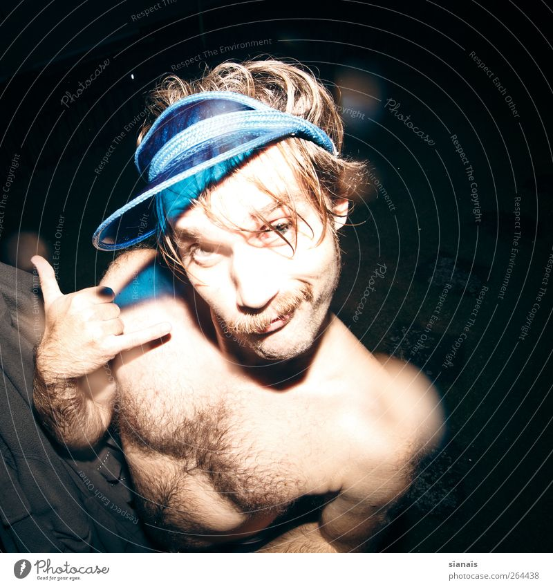 Human being Man Naked Blue Joy Adults Funny Exceptional Hair Blonde Cool (slang) Telephone Facial hair Cap Hip & trendy Whimsical