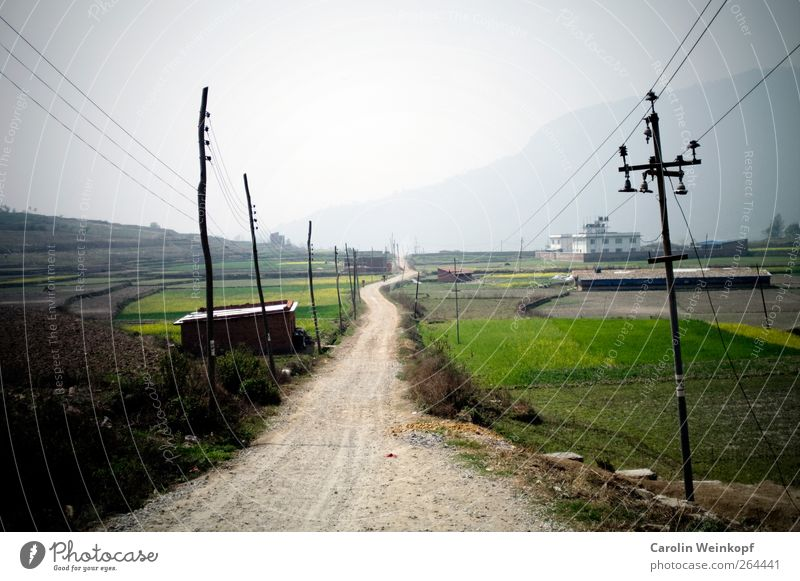 Sky Summer Landscape Street Spring Travel photography Lanes & trails Moody Field Traffic infrastructure Electricity pylon Country road Nepal