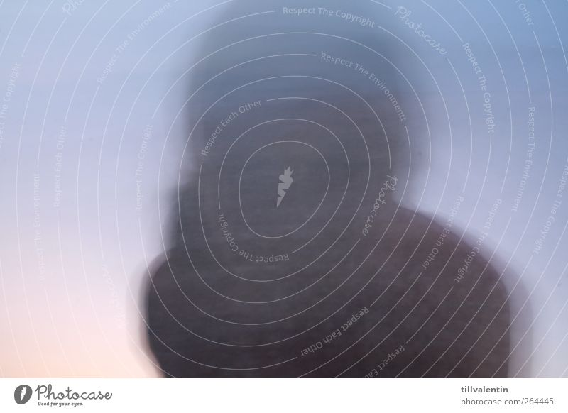 A ghost Human being Head 1 Blue Gray Ghosts & Spectres  Blur Neutral Background Mysterious Exceptional Movement Exterior shot Abstract Silhouette Long exposure