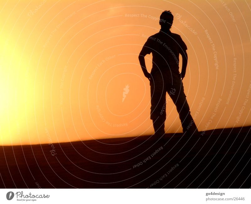 Man Sun Calm Loneliness Warmth Sand Empty Desert Physics Human being Dusk Dubai Near and Middle East