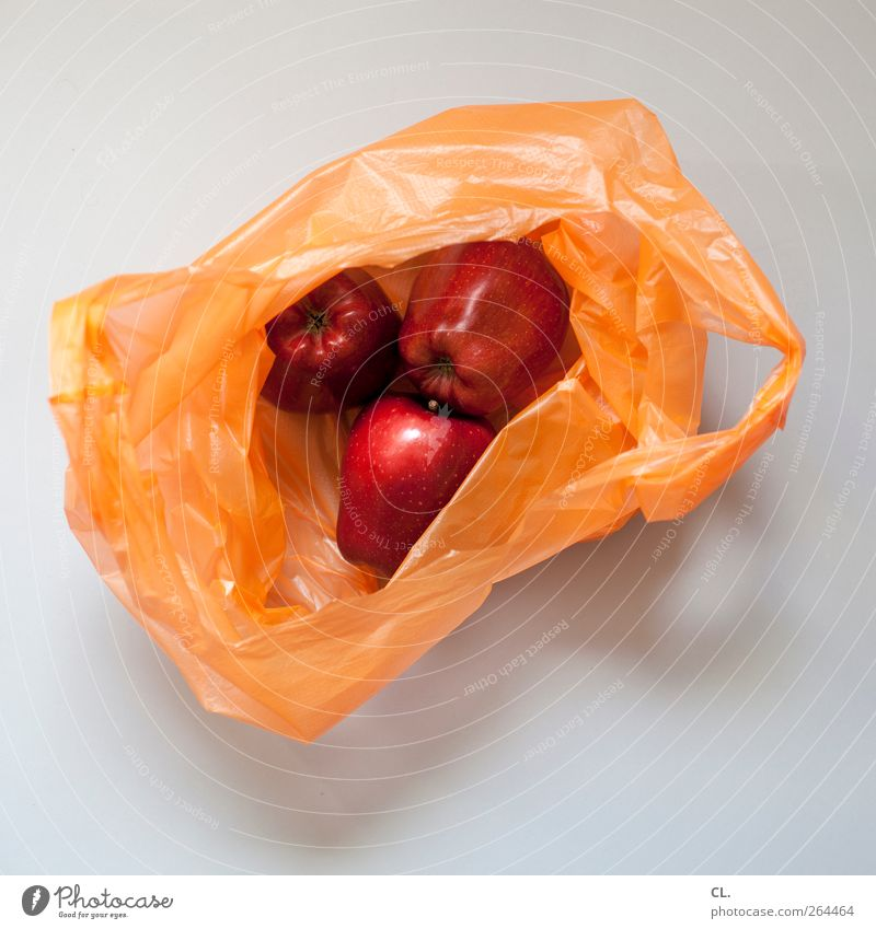 apples Food Fruit Apple Organic produce Vegetarian diet Shopping Fresh Healthy Delicious Natural Red Appetite Paper bag Deserted Goods Bright background