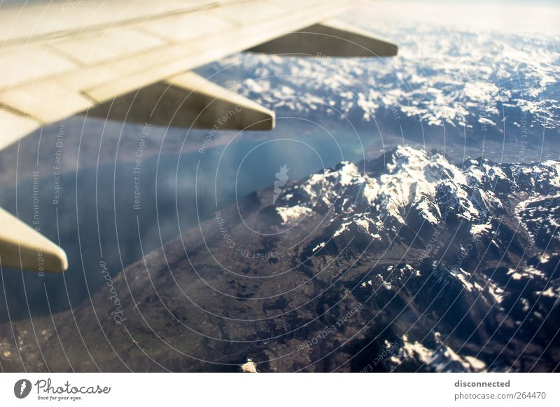 up in the air Landscape Air Earth Sky Snow Alps Mountain Peak Snowcapped peak Aviation Flying Colour photo Aerial photograph Day Reflection