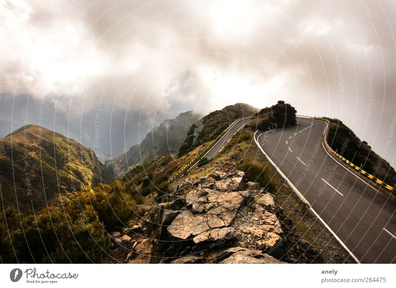 180° Landscape Sky Clouds Weather Fog Mountain Street Overpass Curve Dark Brown Turn back Rock Madeira Peak Steep Contrast Colour photo Exterior shot Deserted