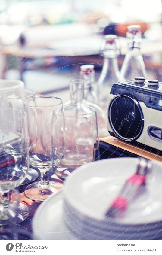 love things. Crockery Plate Bottle Cutlery Radio (device) Glittering Retro Style Glass Junk Blur Colour photo Interior shot Deserted Back-light