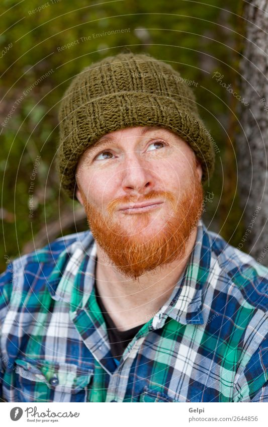 Portrait of a hipster guy thinking in the forest Style Hair and hairstyles Human being Man Adults Nature Plant Tree Forest Hat Red-haired Moustache Beard Old