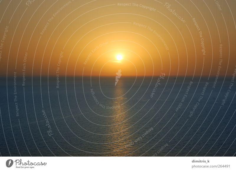 sunset over water Sun Ocean Waves Environment Nature Landscape Sky Horizon Coast Dream Blue Serene Colour Sunset Open clear nowhere orange Set seascape Ripple