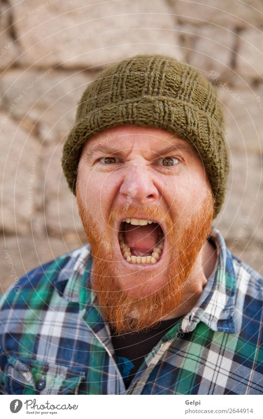 Portrait of a hipster guy putting silly face Hair and hairstyles Face Human being Boy (child) Man Adults Red-haired Beard Exceptional Modern Cute Crazy Anger