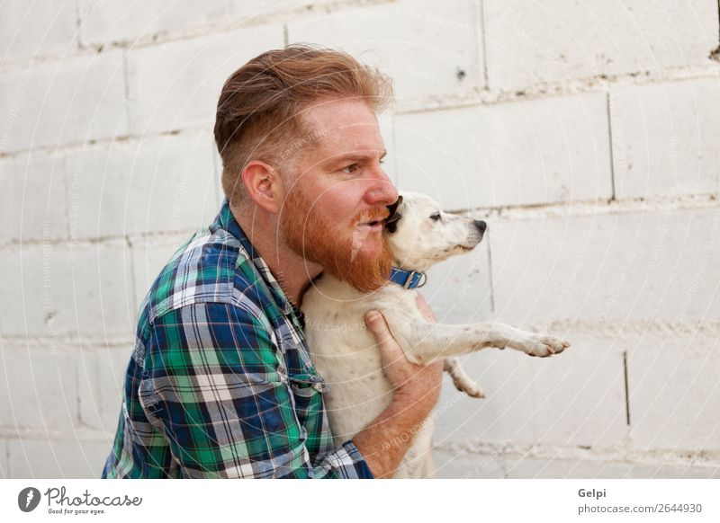 Red haired guy with his dog Human being Dog Man White Animal Joy Lifestyle Adults Love Happy Boy (child) Small Together Brown Friendship Leisure and hobbies