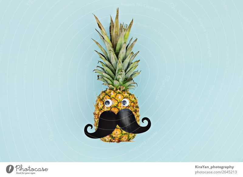 Funny face ripe fruit pineapple with mustache on blue background Fruit Medical treatment Summer Masculine Man Adults Moustache Blue Protection Hope Pineapple