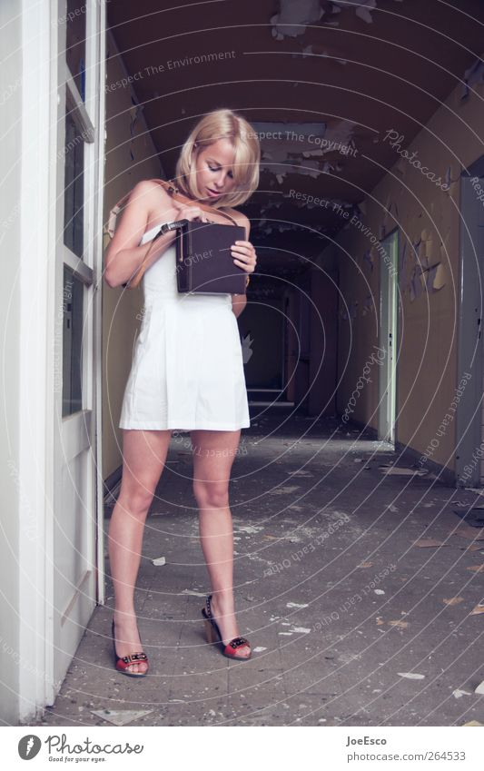 Human being Woman Youth (Young adults) Beautiful Adults Dark Life Wall (building) Wall (barrier) Style Fashion Door Blonde Adventure Living or residing Stand