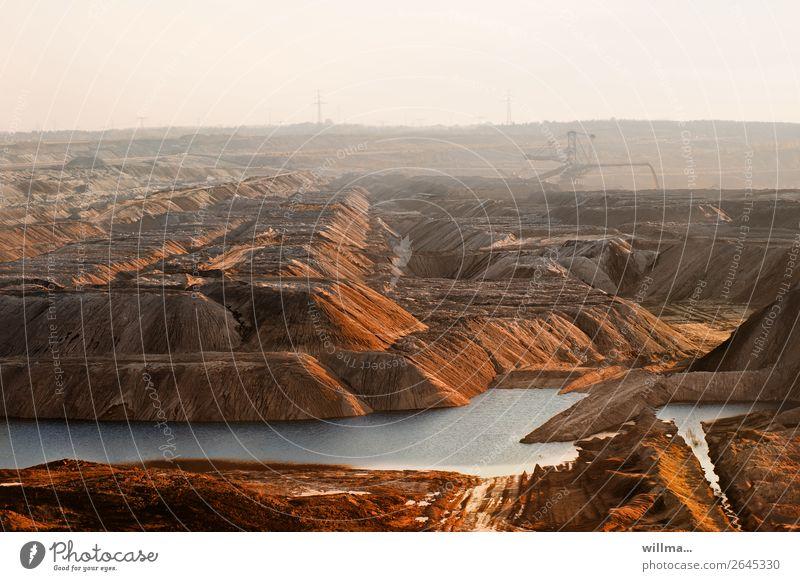 Dump landscape in open pit mining Workplace Energy crisis Climate change Renewable energy Fine particles Carbon dioxide Soft coal mining Slagheap Refuse tip