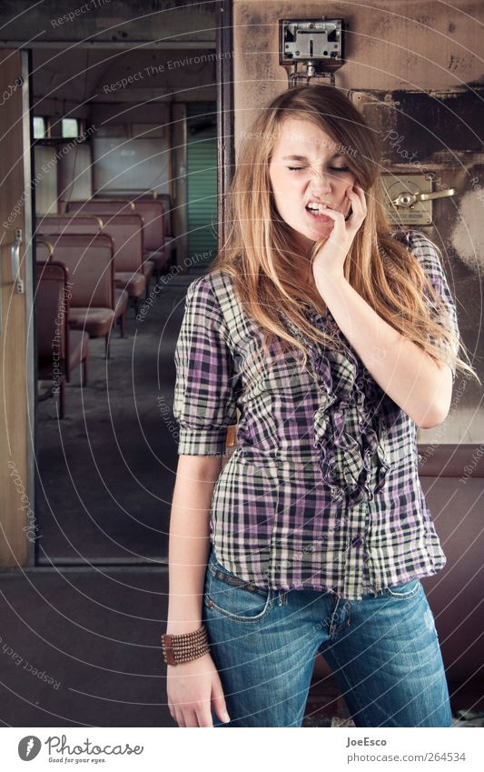 #264534 Style Young woman Youth (Young adults) Woman Adults 1 Human being Train travel Train compartment Fashion Shirt Jeans Long-haired Cool (slang) Happiness
