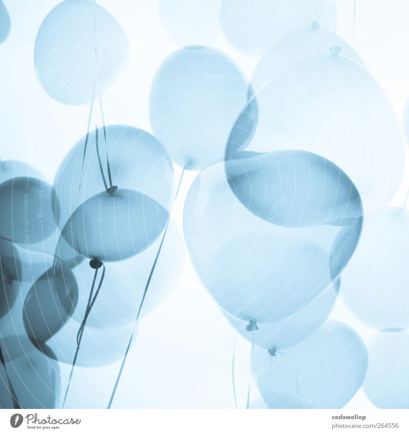 tangled up in blue Lifestyle Style Happy Party Event Valentine's Day Balloon Heart Above Blue White Love Romance Calm Esthetic Double exposure Ease Airy