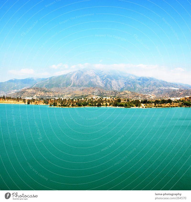 Sky Blue Water Mountain Lake Idyll Hill Lakeside Spain Mediterranean Andalucia Malaga