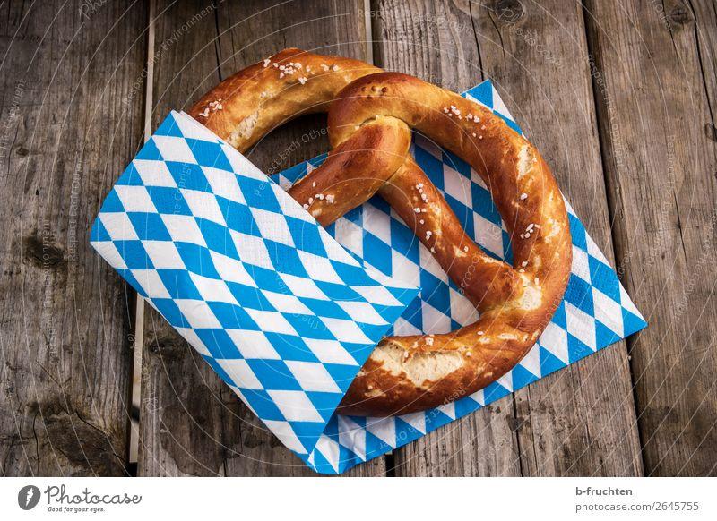 Fresh pretzel Food Dough Baked goods Roll Nutrition Buffet Brunch Picnic Wood Select To enjoy Oktoberfest Pretzel Bavarian Blue-white Napkin Waiter Beer table