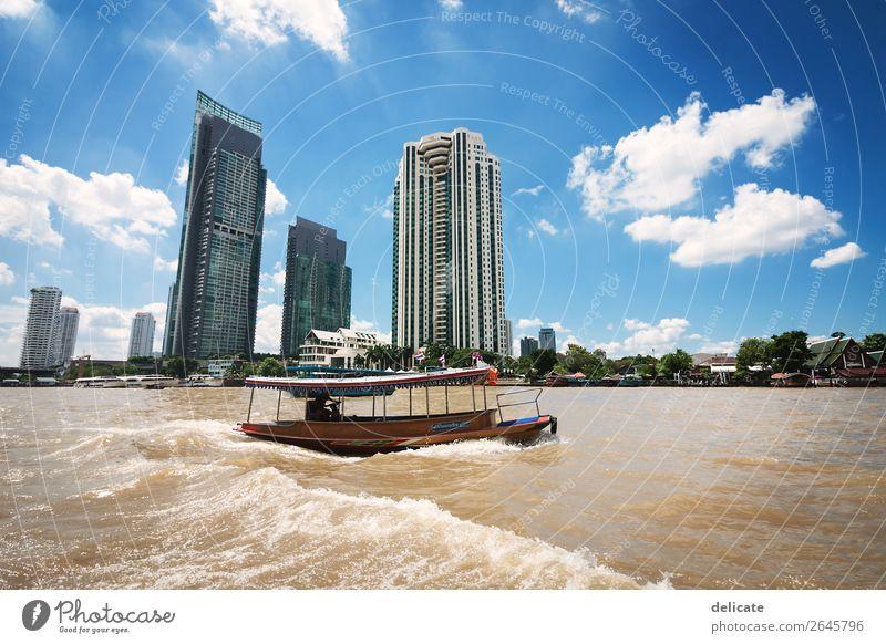 Bangkok Environment Beautiful weather Waves River bank Town Capital city Downtown Skyline High-rise Bank building Bridge Manmade structures Building